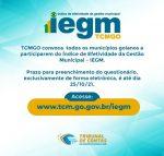 IEGM: Prazo para resposta termina em 25 de outubro